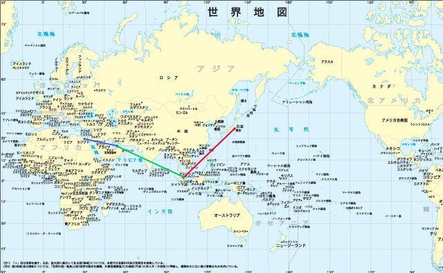 世界地図 世界地図 首都 : 今回の旅の 航路・地図 など